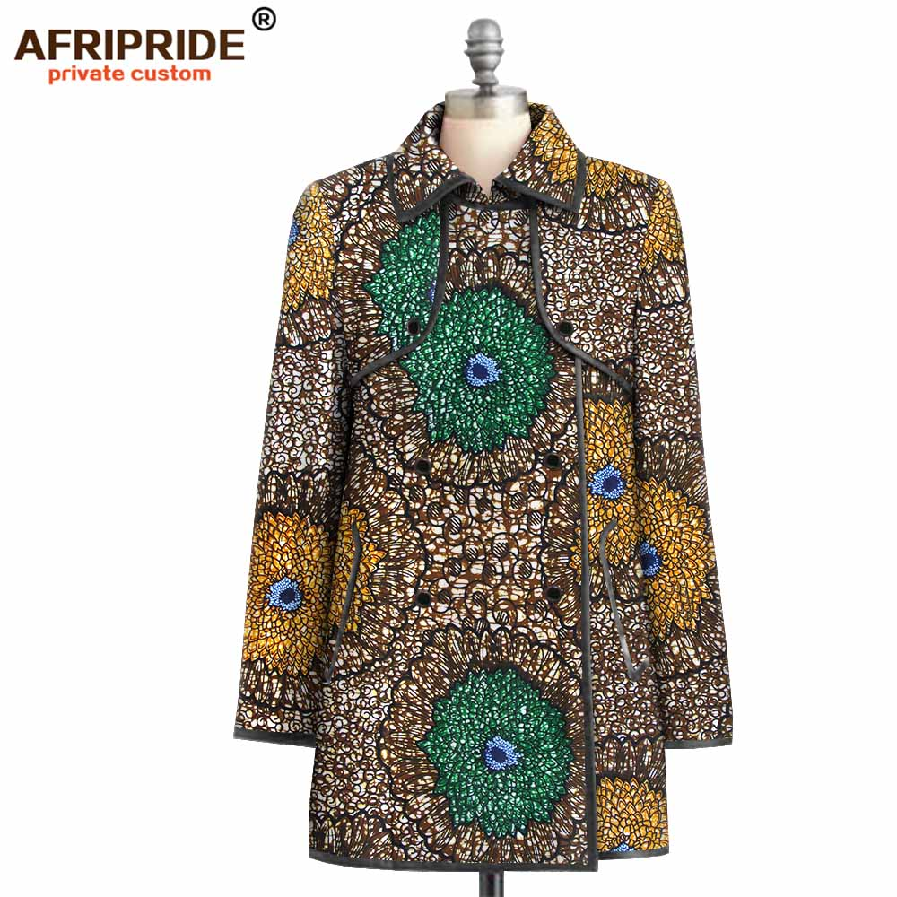 2019 Fall African Fashion Coat For Women AFRIPRIDE Full Sleeves Double Breasted Coat With Two Pockets Women Coat  A1924003