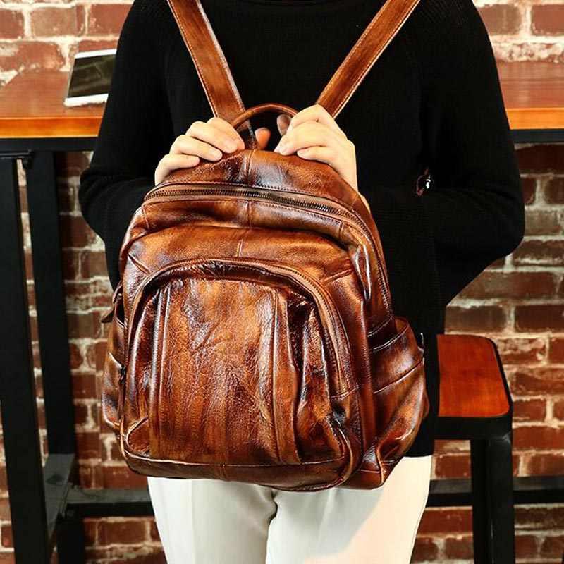 18d436d538a0 ... CHSANATO Mochila Femininas Retro Genuine Leather Backpack Women Travel  Bag College Preppy School Bag For Teenagers