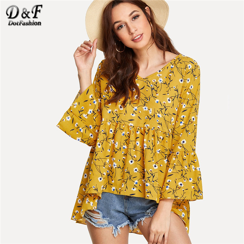 Dotfashion Fluted Sleeve Calico Print Dip Hem Top 2018 Summer V Neck 3/4 Sleeve Blouse Women Mustard Asymmetrical Vacation Top