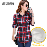 MJY Women Warm Blouse Thicken Lining Winter Autumn Thick Casual Red Black Ladies Plaid Pocket Blouses