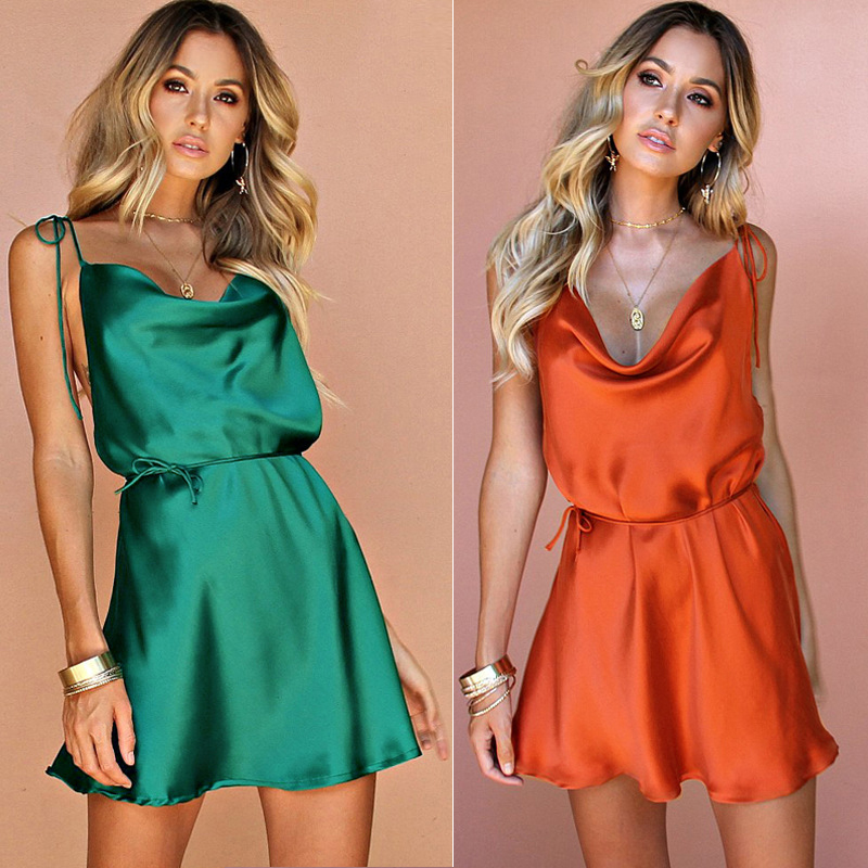 New Women's <font><b>Sexy</b></font> Satin Silk <font><b>Dress</b></font> Strap Sleeveless <font><b>Dress</b></font> Ladies Slim <font><b>Mini</b></font> <font><b>Dress</b></font> Beach <font><b>Club</b></font> Party <font><b>Wear</b></font> Summer 2019 image