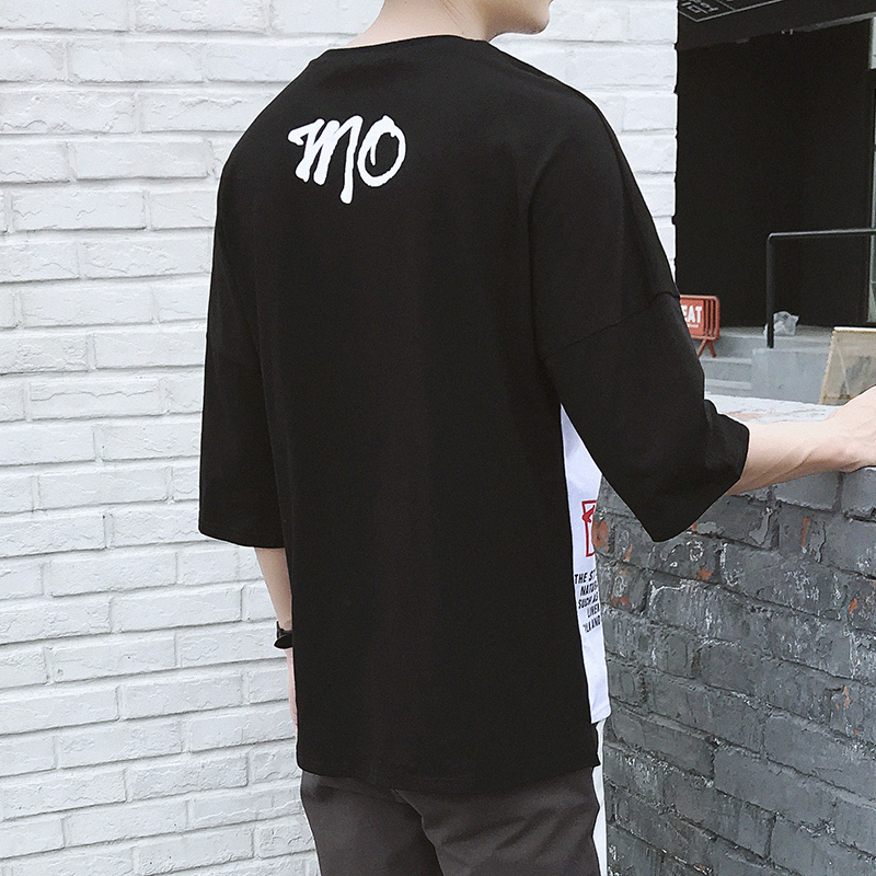 T shirt Summer Man Sleeve T-shirt. Seven Part Half Round Neck harajuku tops stranger things personality city boy trend Fashion