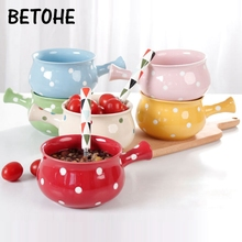 BETOHE Creative Oatmeal instant noodle bowl with handle Ceramic Baking Roast Bowl Cute Breakfast Bowl