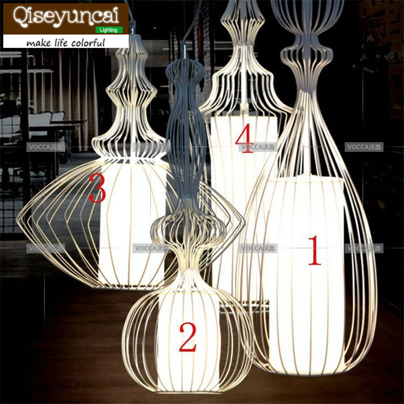 Qiseyuncai Coffee hall single head iron Wire mesh chandelier retro ...