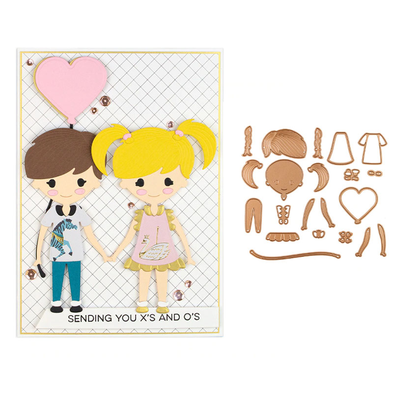 Kawaii Boys Girls Sets Metal Cutting Dies New 2019 For DIY Scrarpbooking Embossing Paper Cards Making Decorative Crafts Supplies in Cutting Dies from Home Garden