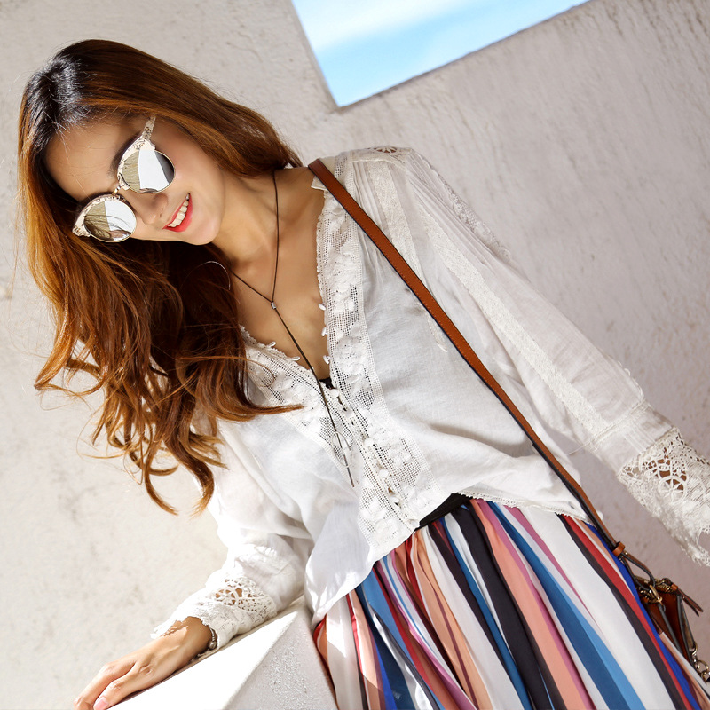 Women's Cotton Sleeve Loose Embroidery Boho Sexy Blusas Chic neck Lace Blouse Shirt Tops Tunic White Long V Floral qfxpwpSn