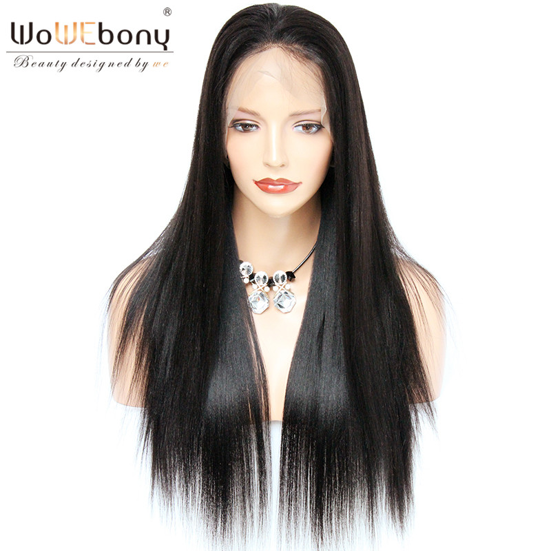 WoWEbony Lace Front Human Hair Wigs For Black Women Pre Plucked Hairline Brazilian Straight Lace Fron Wig With Baby Hair Remy(China)