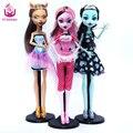 Nenhuma caixa de 3 pçs/set bonecas draculaura/clawdeen wolf/frankie stein moveable joint corpo de alta qualidade meninas de plástico clássico toys