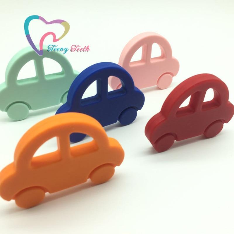 Teeny Teeth 1 PC Baby Cartoon Car Shape Teethers Kids Silicone Teether Toys Baby Cute Mini Car Teether Help Teething Growth Toy