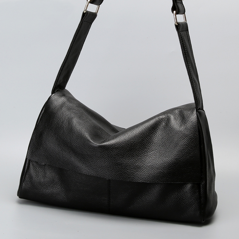 ФОТО First layer cow leather large capacity messenger bag 2017 women's genuine leather shoulder handbag  cowhide shoulder bag big bag