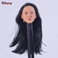 Korea DIY 1/6 Scale Accessories Head Sculpt Female Hot Sideshow Custom KM052 Black Hair For 12 Phicen HTTOYS Body Figure Doll gc005 1 6 european female beautiful lady head sculpt for 12 collectible phicen vc ud ld nd doll action figure diy