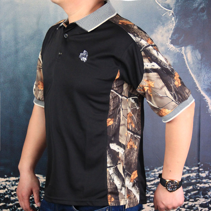US $19 0 |Summer men's short sleeved stretch quick drying clothes jungle  bionic camouflage stitching lapel shirt hunting Geely clothe Duck-in  Hunting