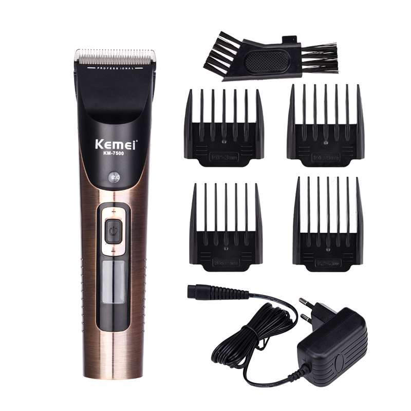 Kemei Rechargeable Professional Hair Cutter Electric Hair Trimmer LCD Display Hair Clipper Adjustable Haircut Trimmer Men kemei professional hair clipper household salon use adjustable rechargeable electric hair trimmer for pets and kids with combs