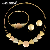 Kindlegem Luxury Italy 750 Gold Three Color Jewelry Set Charms Boho Style Choker Necklace Earrings Bracelet No Change Color