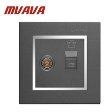 MVAVA Telephone and Television wall socket,Decorative chromed PC panel double port TV Aerial Socket + RJ11 TEL wall outlet free shipping 86 standard tv and tel wall switch socket panel eu uk television telephone wall socket
