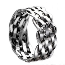 Фотография Drop shipping Vintage Basket Weave Ring Antique Silver Plated Handmade Cross Rings Fashion Jewelry