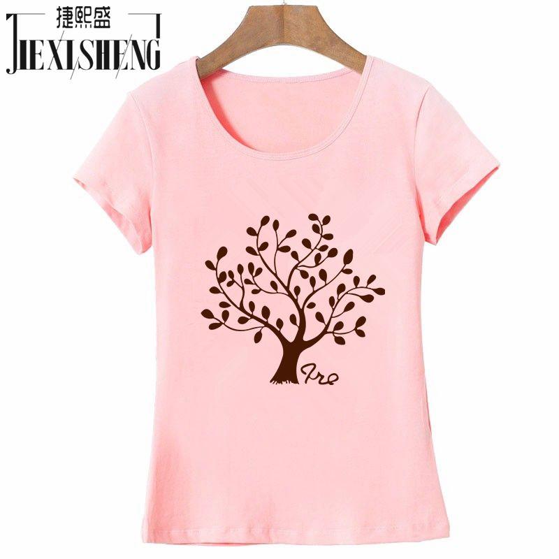 Fashion Women T shirt O-Neck Tree Printed Female T-shirt Short Sleeve Slim Fit Popular Girls Tees Tops Clothes HH042