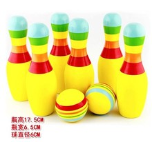 Indoor Fitness Large Size Children Puzzle Game Funny Wood Colorful Bowling Balls Wooden Solid Set(China)