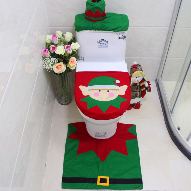 3pcs Set Happy Snowman Christmas Bathroom Toilet Seat Cover Rug Xmas Decoration Bath Mat
