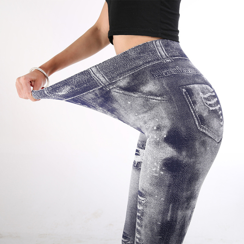 Women High Waist   Leggings   Fashion Push Up Jeans Slim Stretch Pencil Pants Thin Sexy Fake Denim Jeggings Femme Clothing Dropship