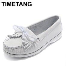 Timetang mujeres zapatos mujeres flats mujer borla de la franja planos del ballet de los holgazanes del mocasín zapatos de la enfermera blanca zapatos femeninos