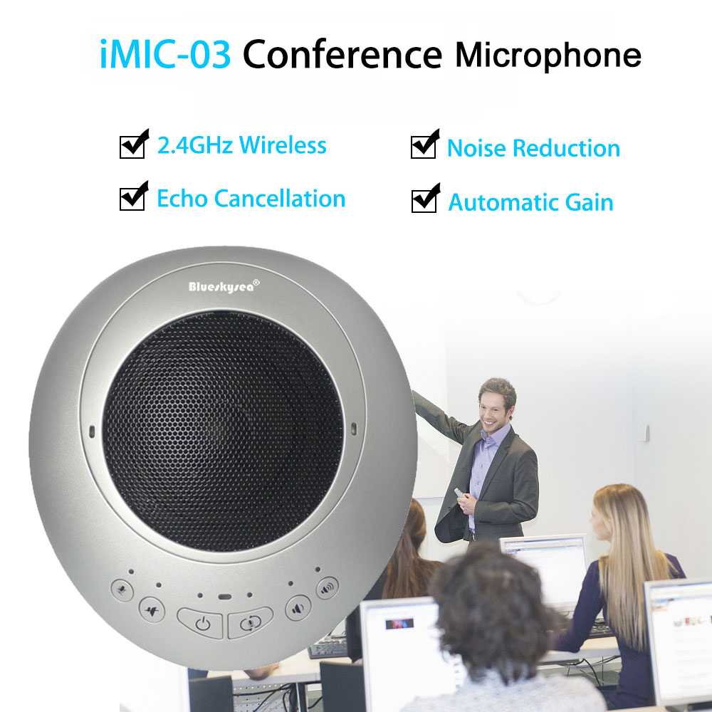 Blueskysea iMIC 03 2.4GHz Wireless Omnidirectional Conference Microphone Mini USB 3.5mm Audio Microphone System For Computer