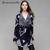 Dreamjieshi 2017 Autumn Winter Kimono Knitted Cardigan Long Sleeve Sweater Coat Elegance Print Irregular Warm Women
