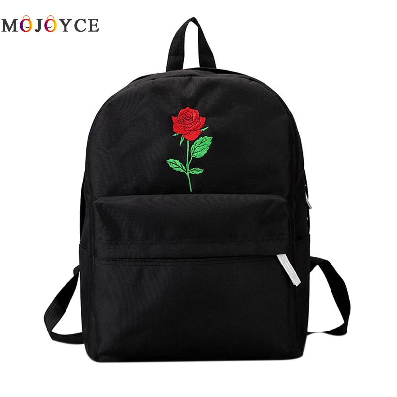 Backpack Women Canvas Rose Flower Embroidery Cute Backpack Student Teenage Girls School Bags Travel Shoulder Bag Black Rucksack vintage cute owl backpack women cartoon school bags for teenage girls canvas women backpack brands design travel bag mochila sac