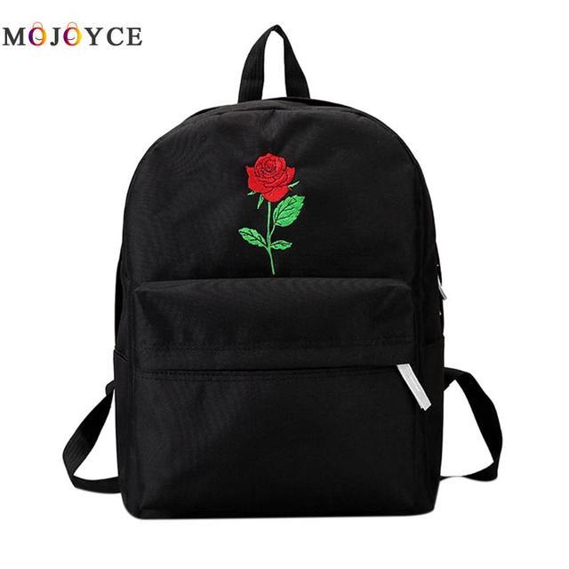 niñas Rosa lona Mochila flor mujer estudiante bordado adolescentes v061Sx6