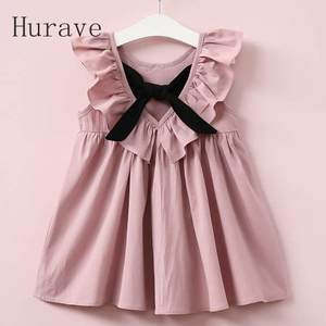 Hurave Summer 2018 Casual Bow Girl Clothing Cute Dresses