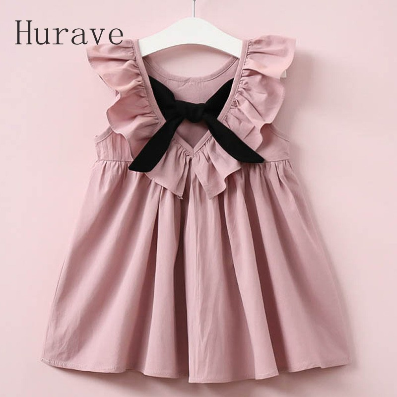 Hurave Summer 2018 New Casual Style Fashion Fly Sleeve Girls Bow Dress Girl Clothing For Children Cute Dresses