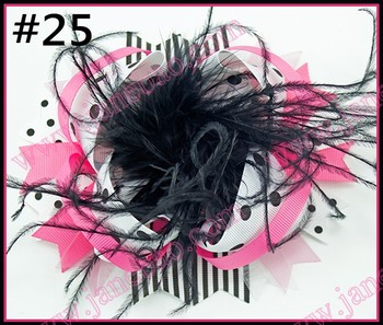 free shipping 50pcs 6''over the top bows feather hair bows with great clip for hair barrette big  clips hair acessories
