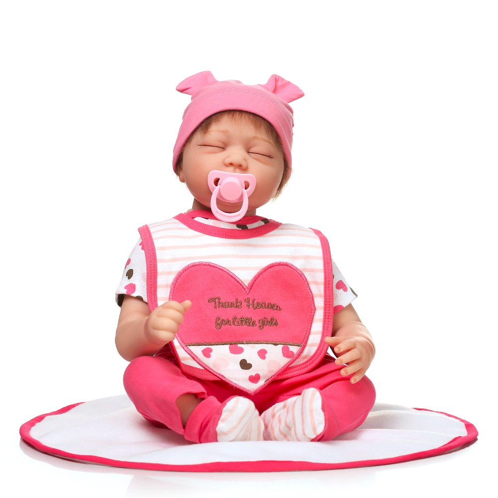 ФОТО the most popular 22inch npk brand sleeping doll wearing rose clothes and hat soft silicone reborn baby doll toy for children