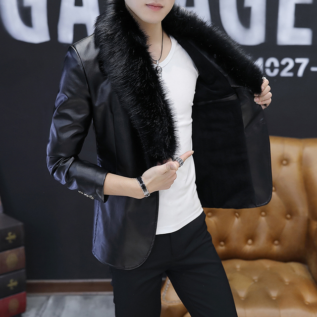 2017 new cashmere Korean version of the trend of the jacket autumn and winter men handsome Slim jacket students leather men