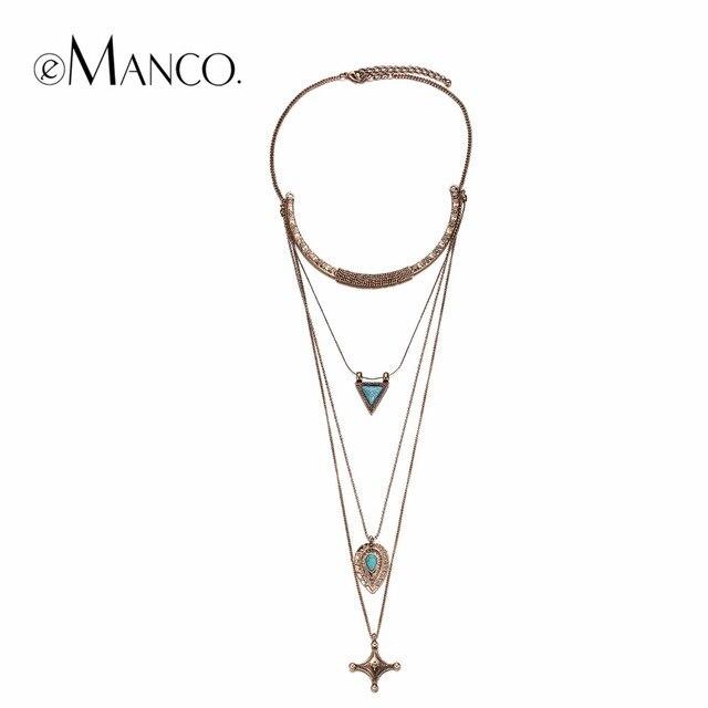 EManco Chic charmant multi-couches géométrique colliers femmes croix mode bijoux 2016