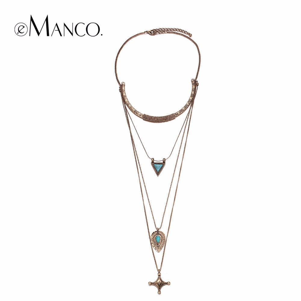 eManco Trendy Chic Charming Multi-Layers Geometric Necklaces Women Cross Fashion Jewelry 2016 chic multilayered geometric bullets choker page 4