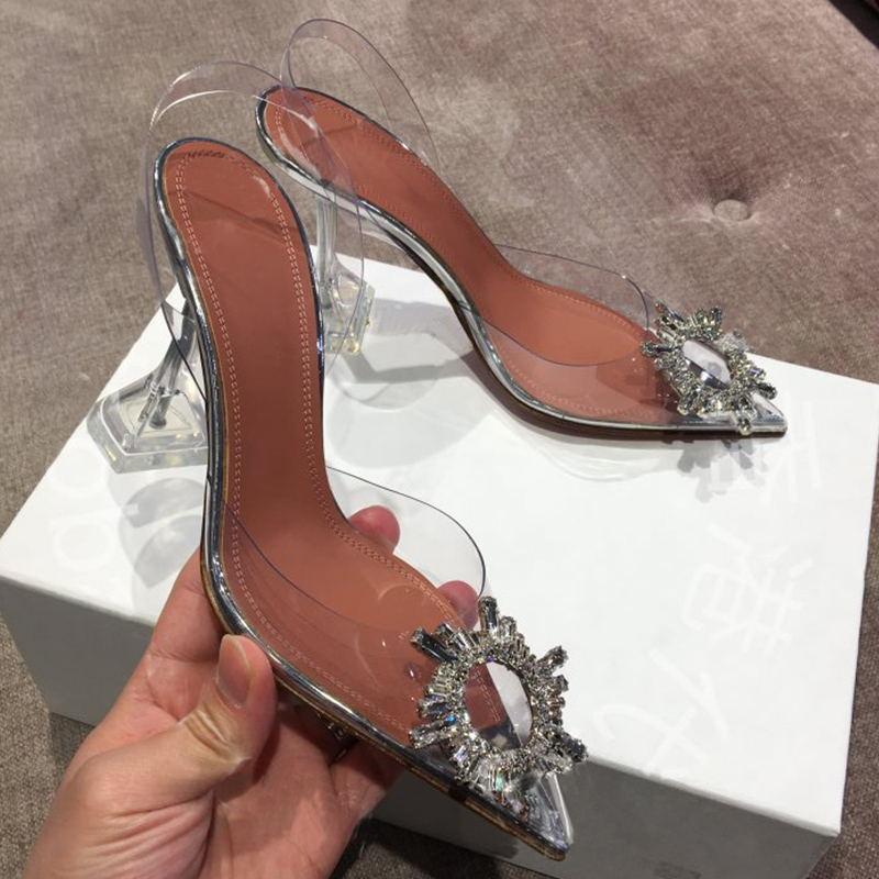 Sandalias de diamantes de imitación de Punta puntiaguda de verano de Mujer de PVC transparente de cristal de copa de talón de la correa trasera zapatos de vacaciones Sandalias Mujer Sexy-in Sandalias de mujer from zapatos    1
