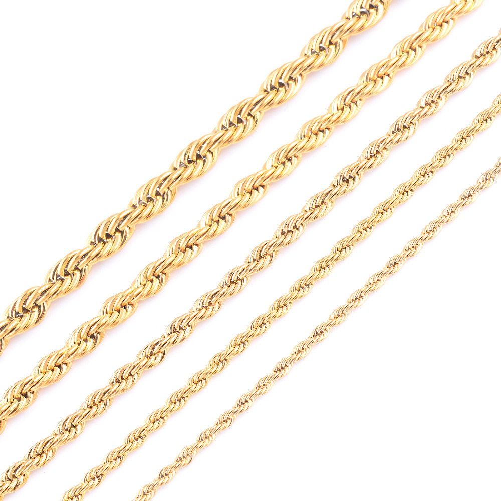 Width 6mm Stainless Steel Gold Color Rope Chain Necklace For Women Men Gold Fashion Rope Chain Jewelry Gift