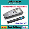 Light source optical power meter red one piece set fiber optic red pen optical power meter tester APM820