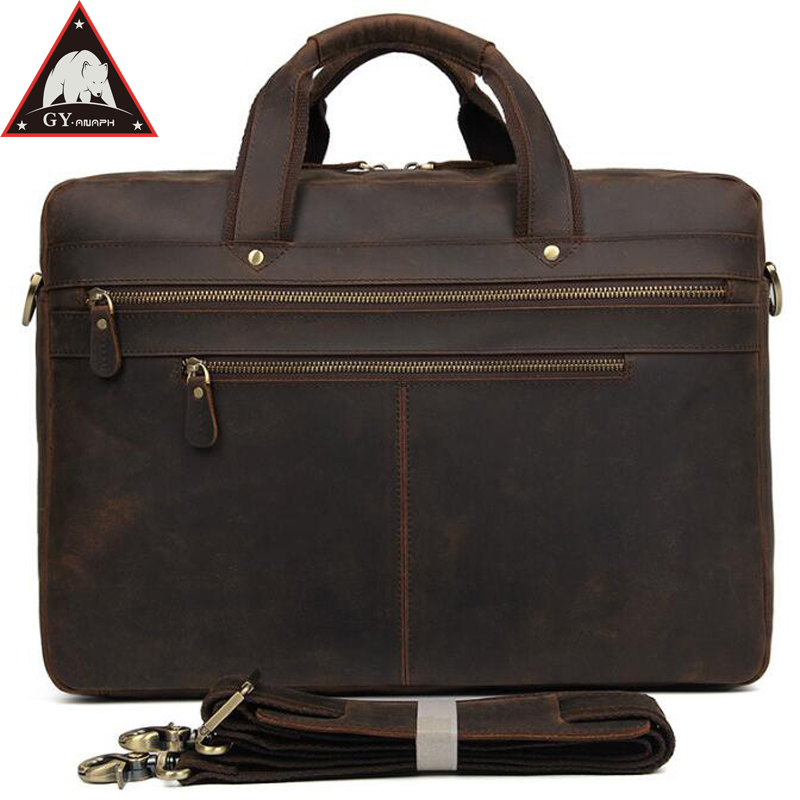 купить ANAPH Vintage Crazy Horse Office Work Bag, Thick Leather Executive Briefcases For Men, Attached 17 Inch Laptop Case Dark Brown по цене 8852.56 рублей