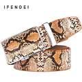 IFENDEI Luxury Genuine Snake Leather Belt Men Luxury First Layer Automatic Buckle Belts Men Leather Designer Belts High Quality