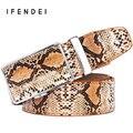 IFENDEI Serpiente Genuina Correa De Cuero de Lujo de Los Hombres de Lujo Primera Capa de la Hebilla Automática Cinturones Cinturones de Cuero de Diseño de Alta Calidad