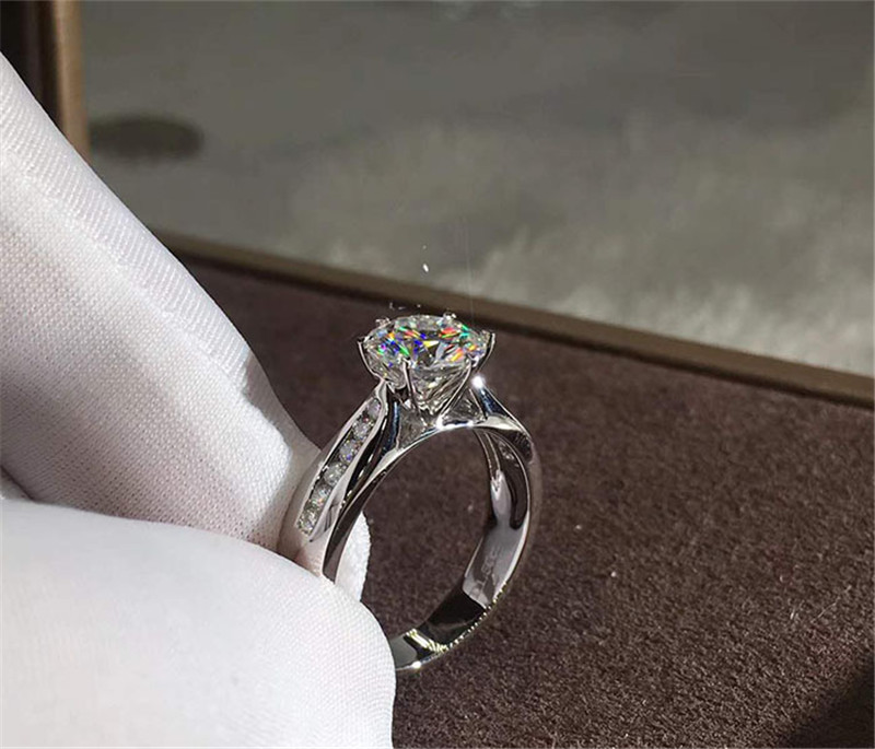 Solitaire Promise Ring 925 Sterling Silver AAAAA Zircon Sona Cz Engagement Wedding Band Rings For Women Bridal Party Jewelry