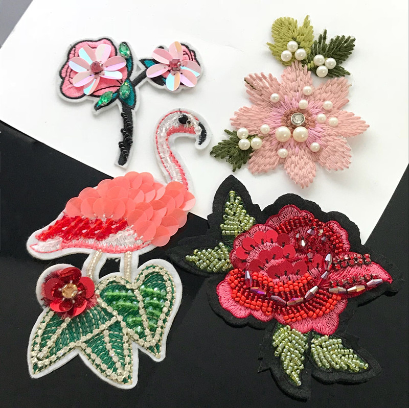 Sequined Floral Patches Badge For Jeans DIY Sewing Embroidery Applique Handcraft