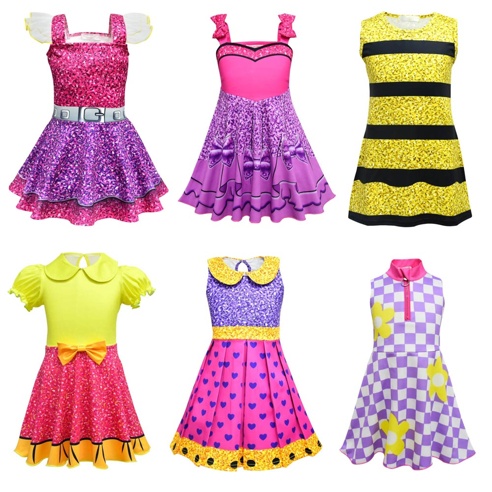 Hitmebox Fashion Girls Printed Dress Cute Sleeveless Fancy Dresses Holiday Kids Lol Dolls Cosplay Customes Party For Halloween