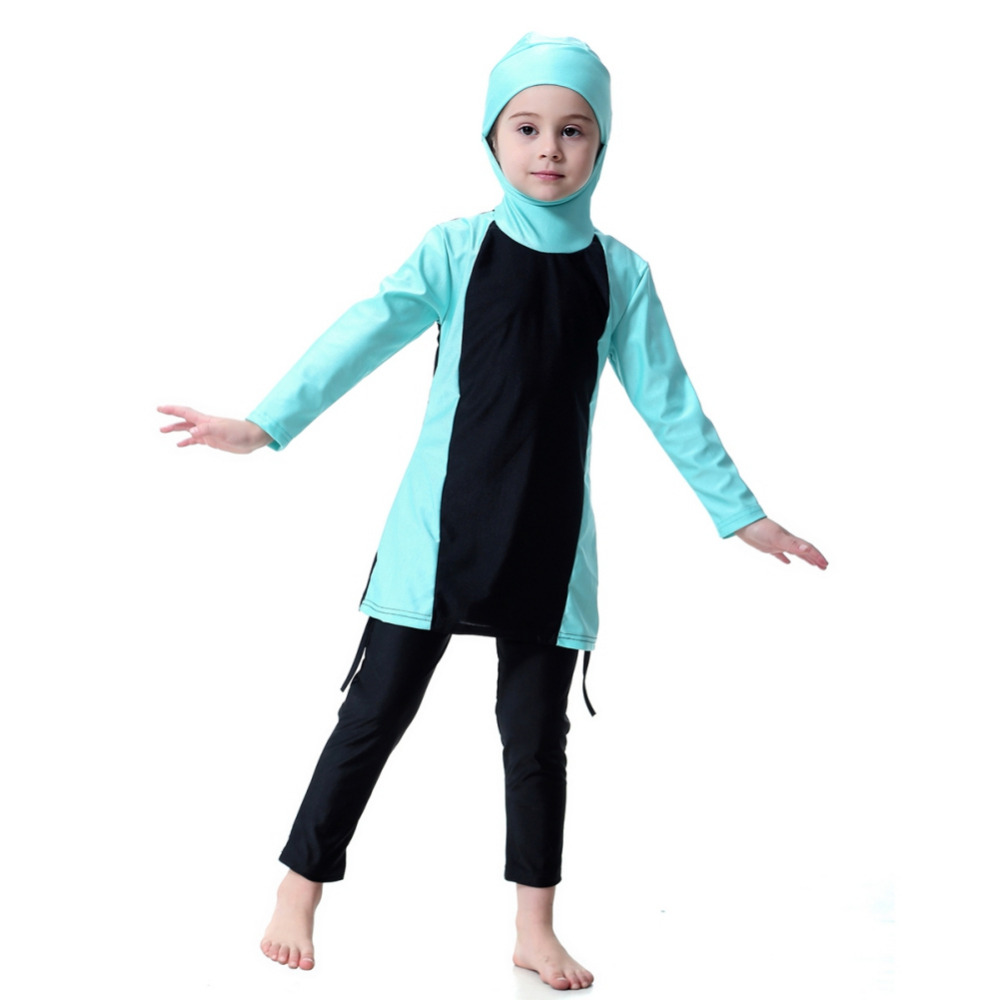 Kids Girls Islamic Muslim Swimwear Modest Fit Full Cover Kids Two Piece Arab Swimsuit 3 Color