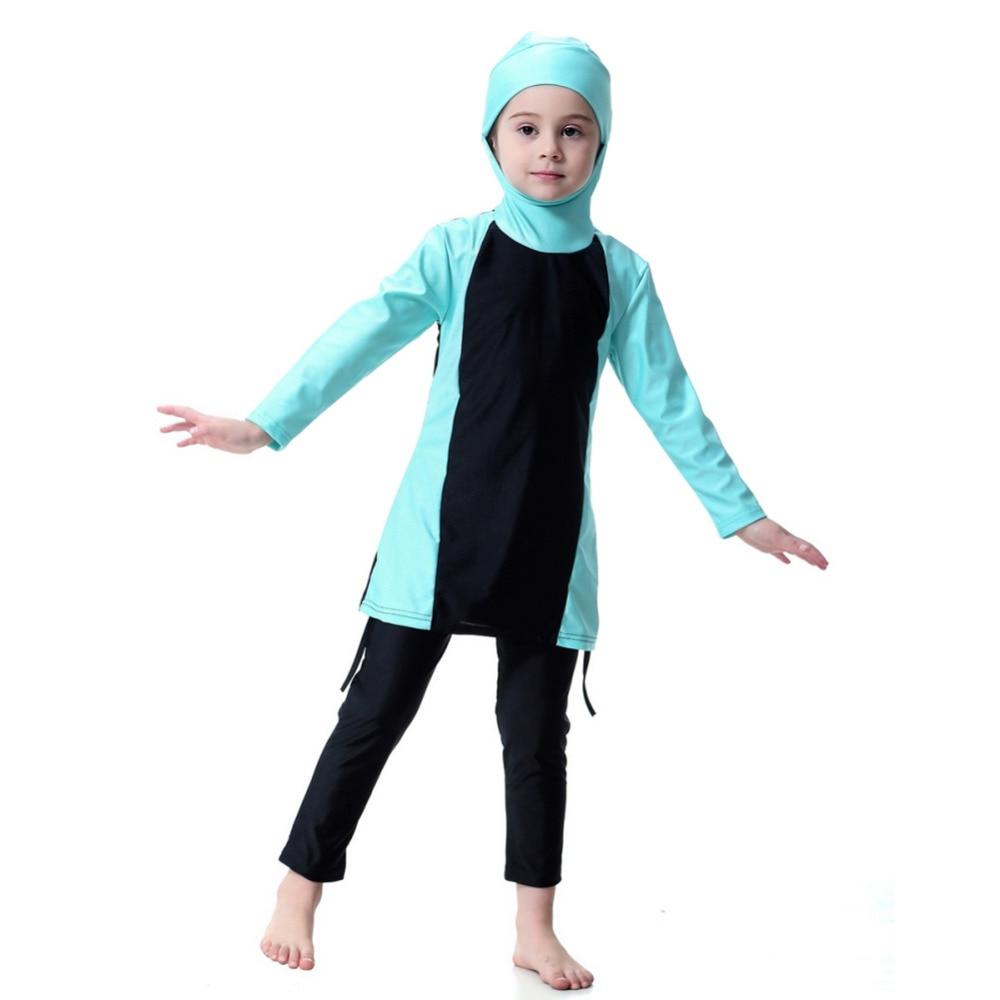 Kids Girls Islamic Muslim Swimwear Modest Fit Full Cover Kids Two Piece Arab Swimsuit 3 Color