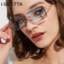 iGUETTA Square Luxury Sunglasses Women Brand Designer Lady Metal Glasses Frame Sunglass Vintage UV400 IYJB593