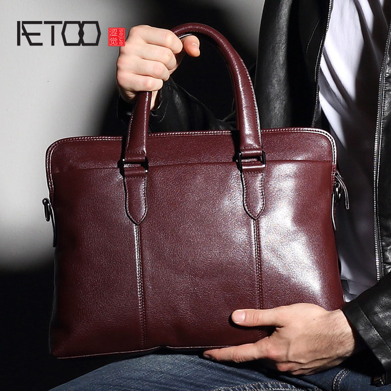 AETOO New leather men 's bag handbag business briefcase first layer of leather shoulder bag Korean version of the retro briefcas leather handbag shoulder bag casual first layer of leather men s oil wax messenger bag korean man bag tide