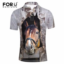 FORUDESIGNS 3D Horse Printed Mens Casual  Shirt Summer Short Sleeve Comfortable For Male Dress Camisa